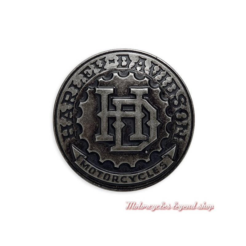Boucle H-D 3D Harley-Davidson homme, ronde, finition nickel, 97778-17VM