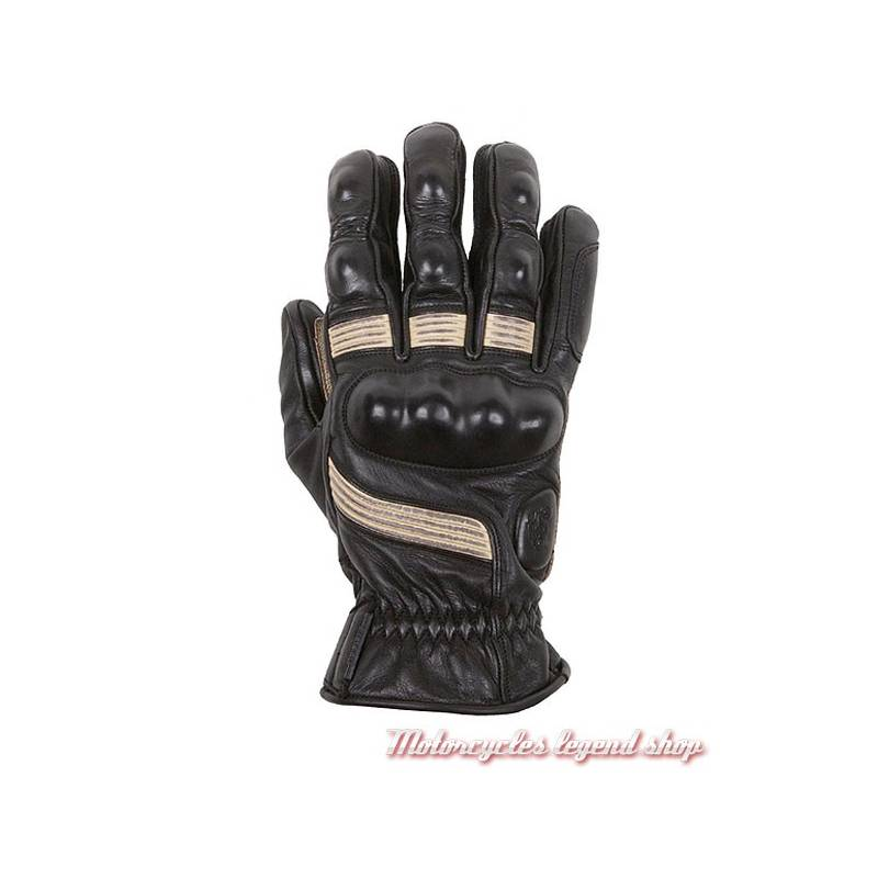 Gant cuir Vitesse Pro été Helstons homme, noir et beige, coque carbone, kevlar