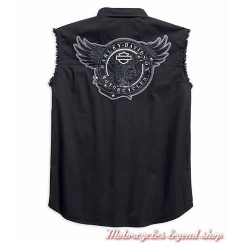 Chemise sans manche Circle Eagle Harley-Davidson, homme, noir, coton, 96603-17VM