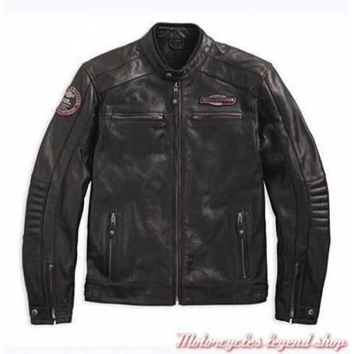 Blouson cuir Cruiser Harley-Davidson, homme, noir, micro perforé, vintage, homologué CE, 97183-17EM