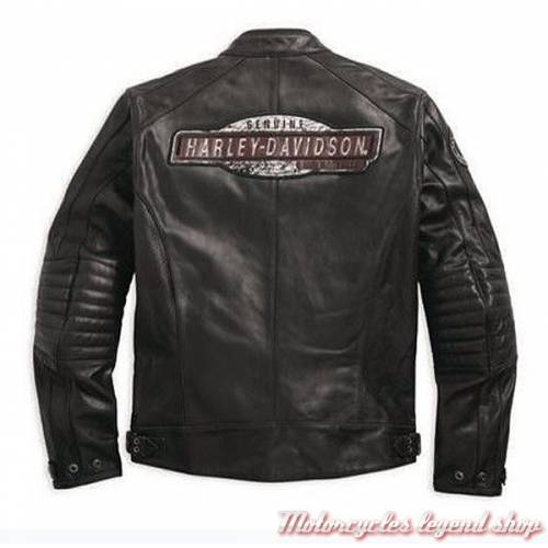 Blouson cuir dos Cruiser Harley-Davidson, homme, noir, micro perforé, vintage, homologué CE, 97183-17EM