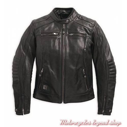 Blouson cuir Epic Harley-Davidson femme, noir, micro perforé, vintage, homologué CE, 97184-17EW