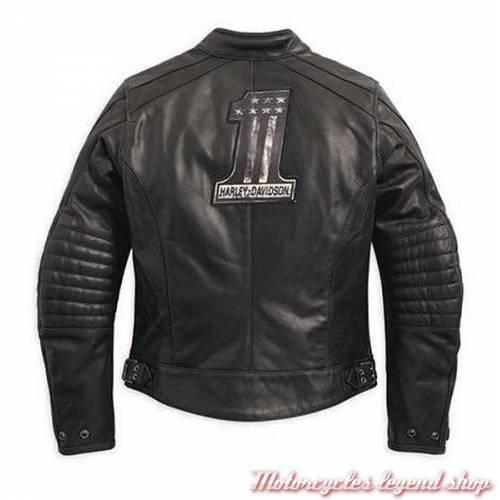 Blouson cuir dos Epic Harley-Davidson femme, noir, micro perforé, vintage, homologué CE, 97184-17EW