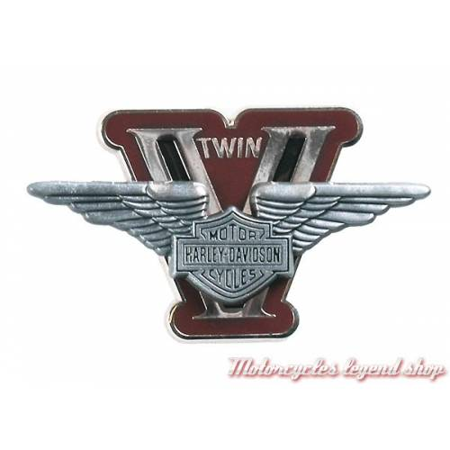 Pin's V Twin Harley-Davidson, métal, rouge, relief,152991