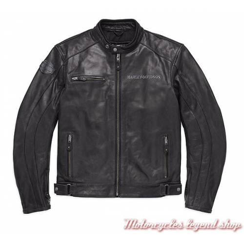 Blouson cuir dos Skull Reflective Harley-Davidson, homme, noir, homologué CE, 98122-17EM