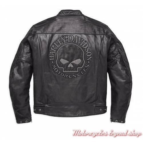 Blouson cuir Skull Reflective Harley-Davidson, homme, noir, homologué CE, 98122-17EM