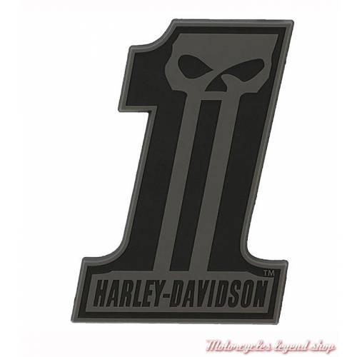 Sticker One Skull relief Harley-Davidson, caoutchouc noir, DC718301