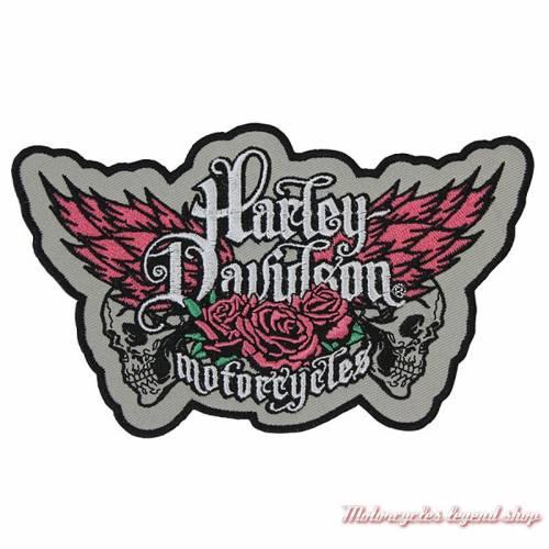 Patch Rebel Harley-Davidson, féminin, brodé, skull, gris, rose, EM225073