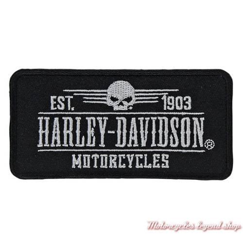 Patch Grunge Skull Harley-Davidson, brodé, noir, gris, EM222882
