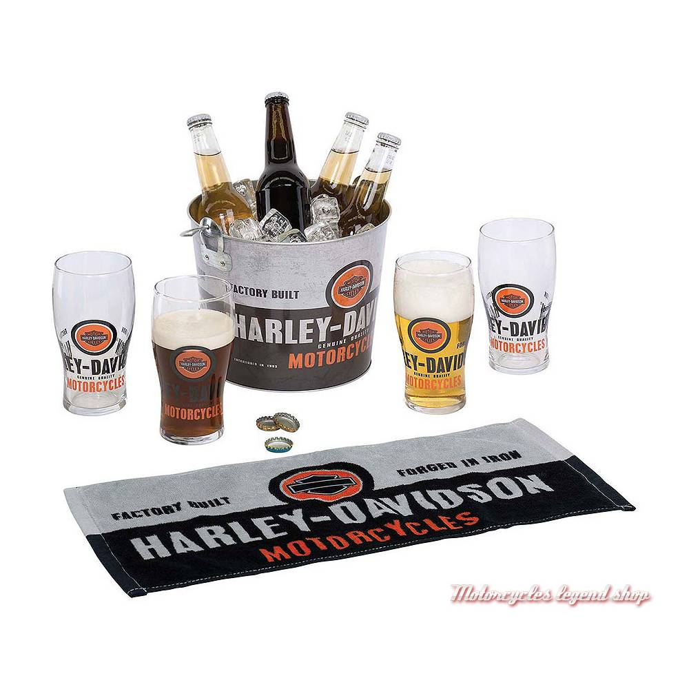 Set Party Forged In Iron Harley-Davidson 4 pintes, seau metal, decapsuleur, serviette, HDL-18776