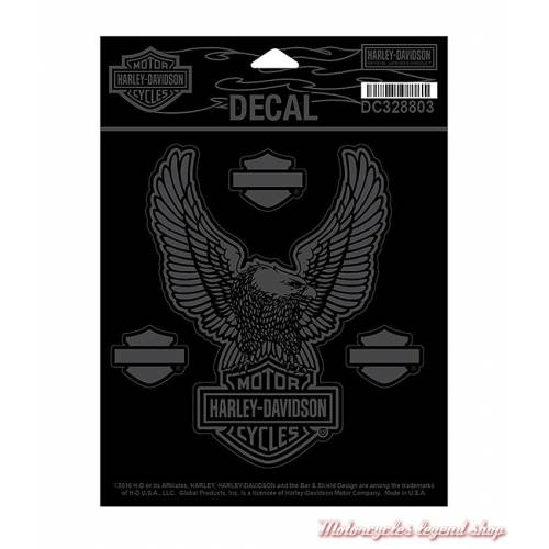 Sticker Upwing Eagle Mat Harley-Davidson, noir, finition mate et brillant, DC328803