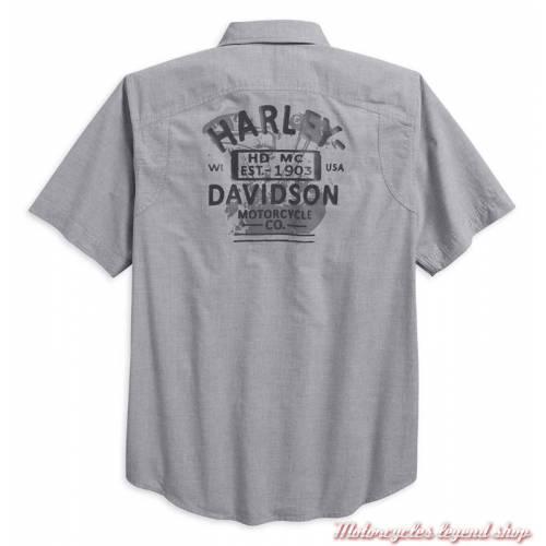 Chemisette Microstripe Harley-Davidson, homme, coton tissé, gris, 96419-18VM