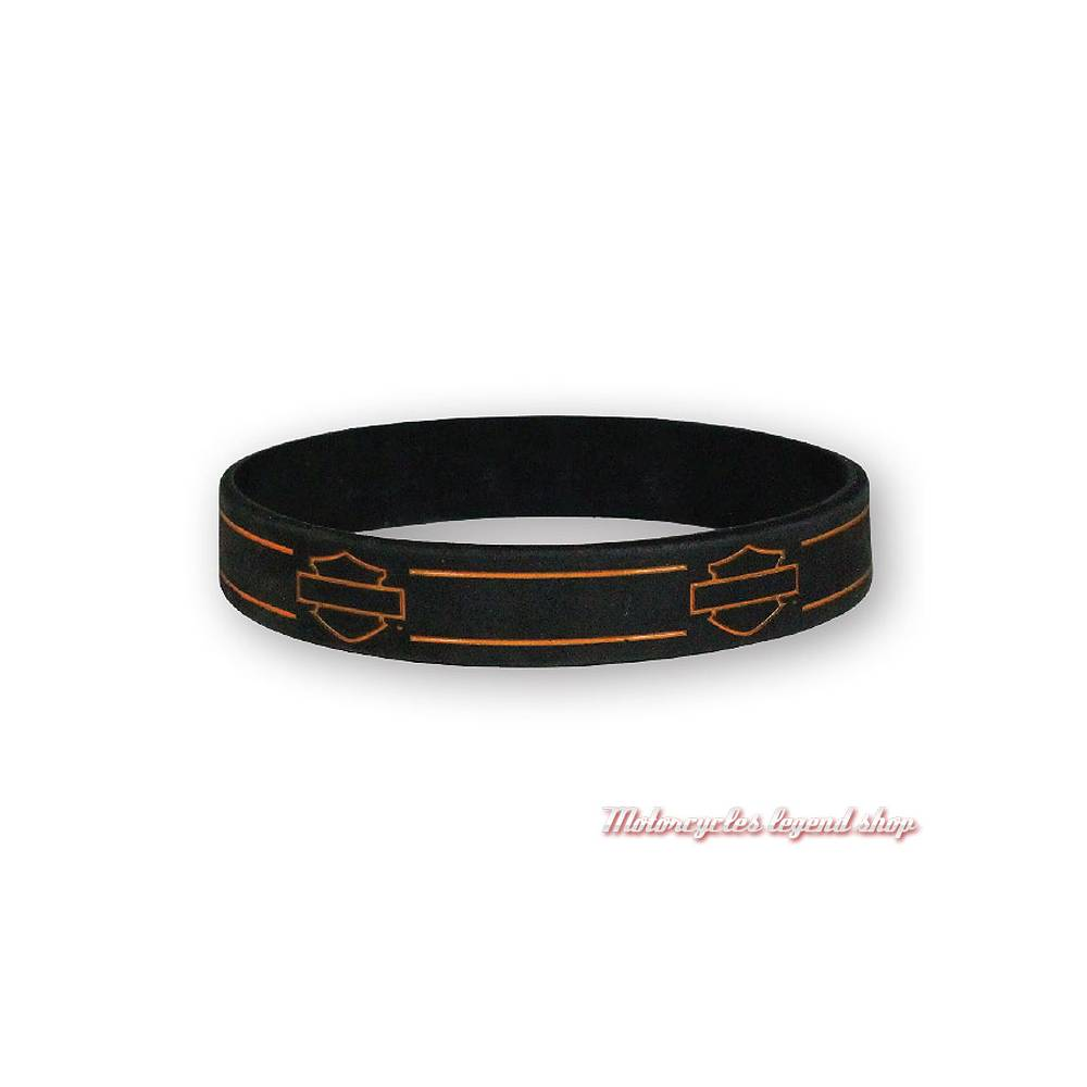 Bracelet silicone Bar & Shield Harley-Davidson, noir, orange, WB114464