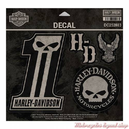5 Stickers Dark Custom Harley-Davidson, noir, sépia, DC252883