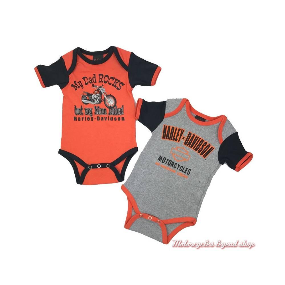 Lot de 2 bodies Harley-Davidson garçon, coton, noir, orange, gris, blanc, manches courtes, 3050553