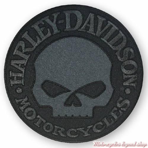 Patch Skull Harley-Davidson, brodé, circulaire, noir et gris, EM1048804