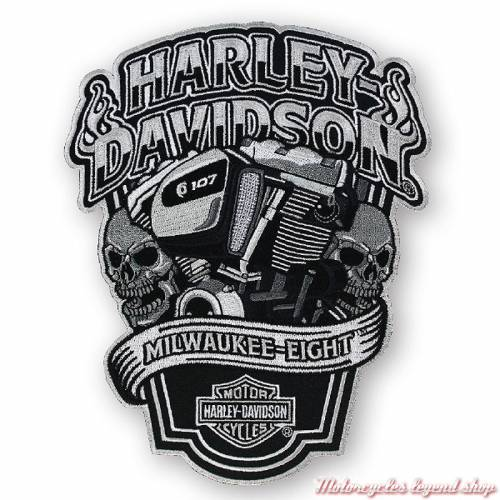 Patch Milwaukee-Eight Harley-Davidson, skull, brodé, noir, gris, EM255904