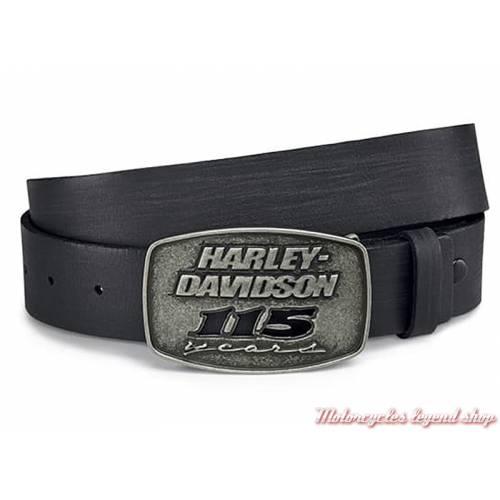 Ceinture 115th Anniversary Harley-Davidson homme, cuir noir, 99411-18VM