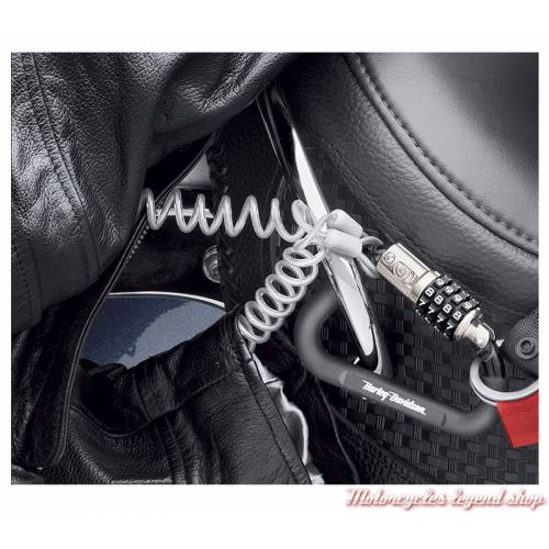 Antivol casque Harley-Davidson, mousqueton, à code 4 chiffres, 52200003