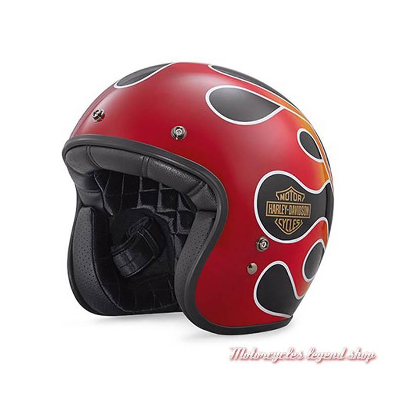 Casque Jet Retro Flame Harley-Davidson,  mixte, noir et rouge brillant, 98141-18EX