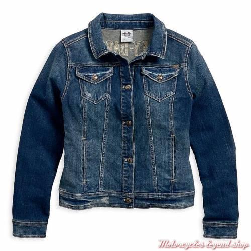 Veste en jeans Eagle Harley-Davidson, femme, denim bleu, délavé, rivets métal doré, coton, 96021-18VW