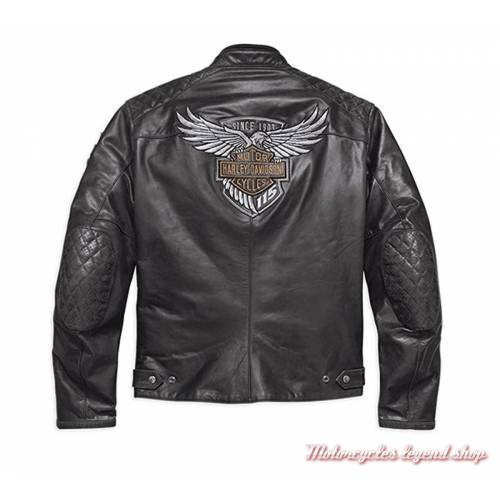 Blouson cuir 115th Anniversary Harley-Davidson homme, noir, homologué CE, 98006-18EM