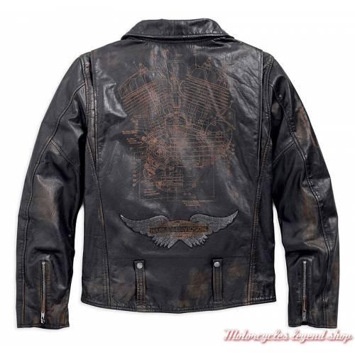 Blouson cuir Master Harley-Davidson homme, perfecto noir vieilli, vintage, 98003-18VM