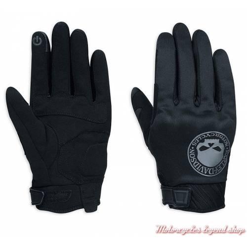 Gants textile Skull Harley-Davidson homme, noir, nylon et polyester, Willie G., homologués CE, 98364-17EM