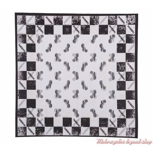 Foulard Motorcycles Helstons, mixte, polyester, 65 x 65 cm, noir et blanc, motifs damier et motos, 20170027