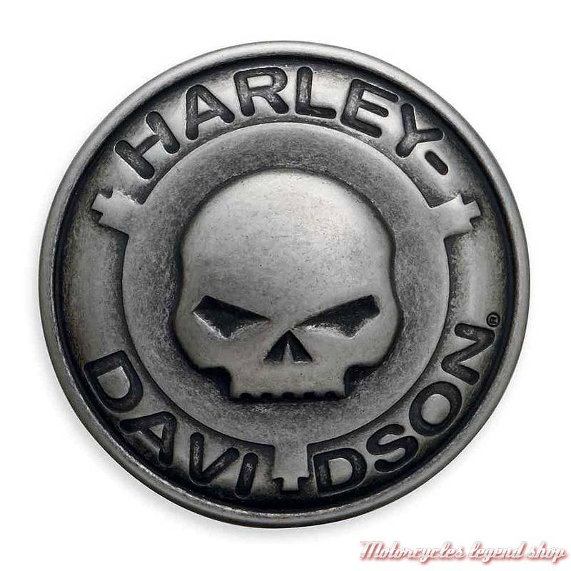 Boucle de ceinture Skull Willie G.Harley-Davidson homme, ronde, métal zingué 1369bff76f5