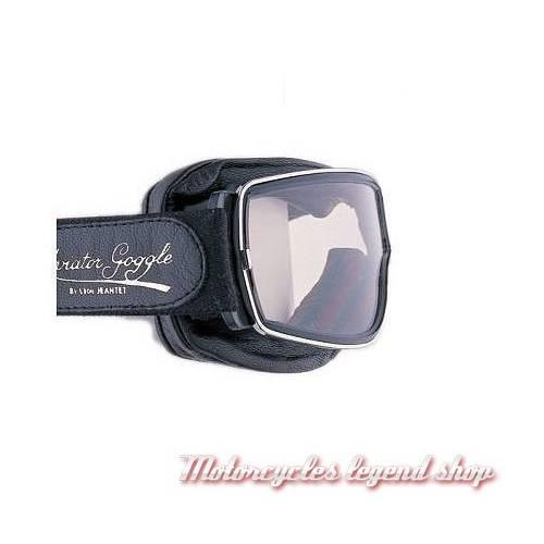 """Lunettes """"Aviator Goggle"""" mixte, noir, cercle chromé, oculaire clair, large elastique réglable, Leon Jeantet T2CHI"""