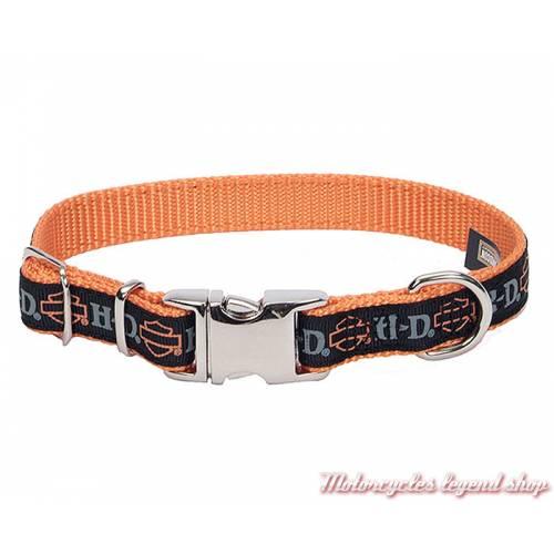 Collier pour chien nylon Harley-Davidson, noir, orange, longueur ajustable, H6471 H BSO