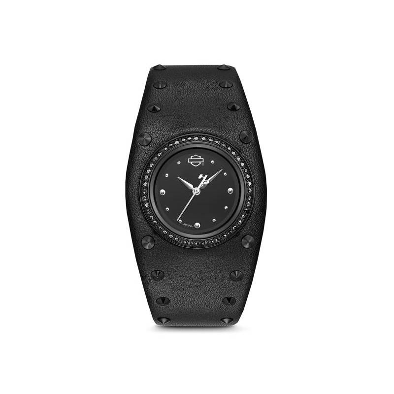 Montre bracelet large cuir noir femme Harley-Davidson, strass noirs, 78L128