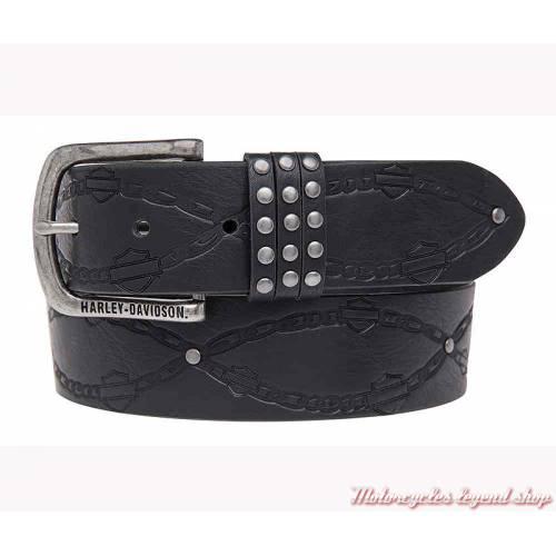 Ceinture cuir noir Linked Harley-Davidson femme, boucle amovible, HDWBT11026