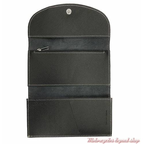 Portefeuille cuir Harley-Davidson femmee, noir, grainé, brodé, ZWL3871-CRMBLK