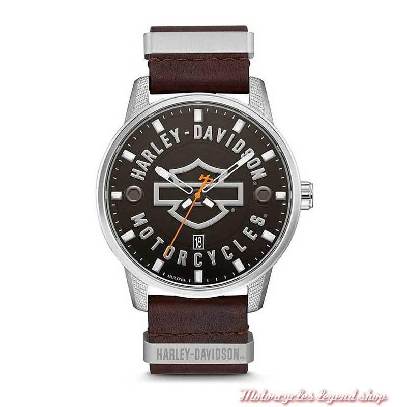Montre Bar & Shield homme Harley-Davidson, bracelet cuir marron, 76B178