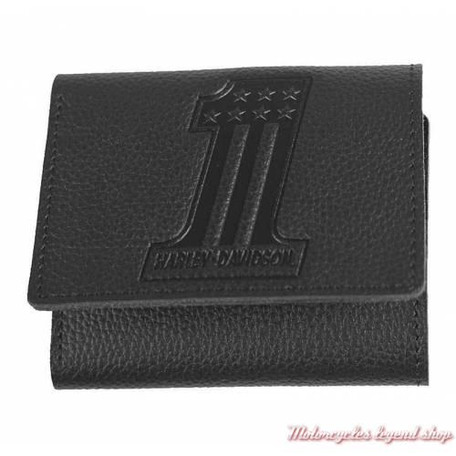 Petit portefeuille Number One black Harley-Davidson cuir noir grainé, XML3845-BLACK