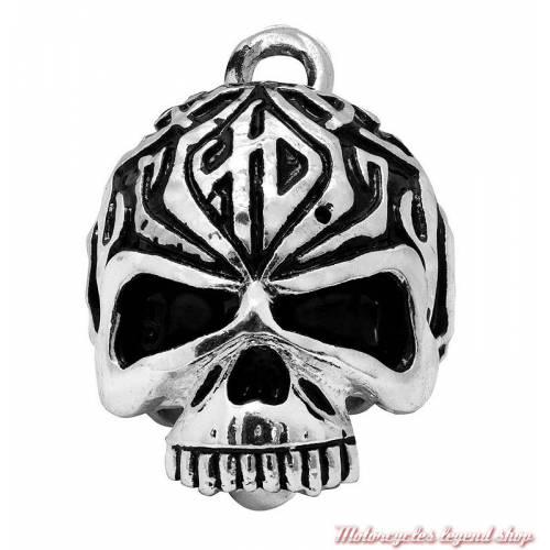 Clochette Tribal Skull Harley-Davidson, ronde, métal argenté, HRB092