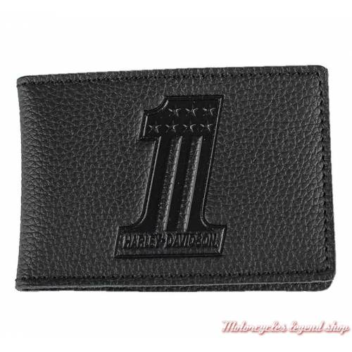 Porte cartes Number One black Harley-Davidson, cuir noir grainé, XML3863-BLACK