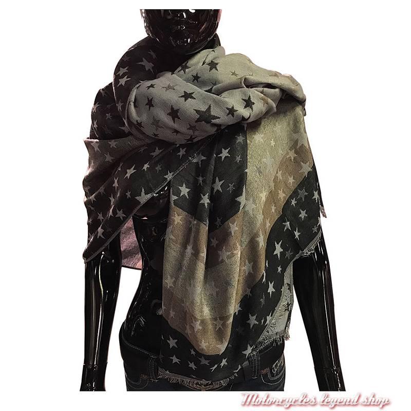 Foulard Pashmina étoiles, noir, gris, beige, viscose, 140 x 140 cm 2f8c1c95f13