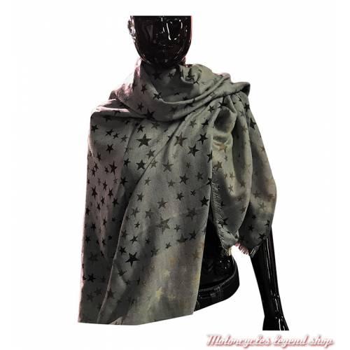 Foulard Pashmina étoiles, noir, gris, beige, viscose, 140 x 140 cm