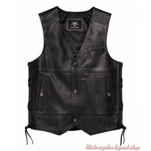 Gilet cuir Tradition II Harley-Davidson, homme, noir, laçage latérale réglable, 98024-18VM