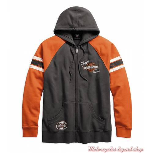 Sweatshirt Genuine Oil Can Harley-Davidson homme, zippé, capuche, gris, orange, coton, 99065-18VM