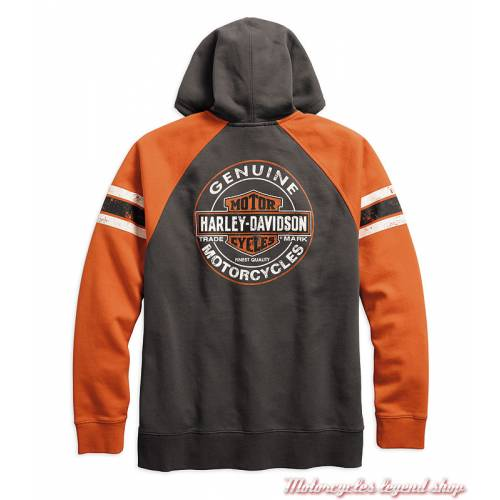 Sweatshirt Genuine Oil Can Harley-Davidson homme, zippé, capuche, gris, orange, coton, dos, 99065-18VM