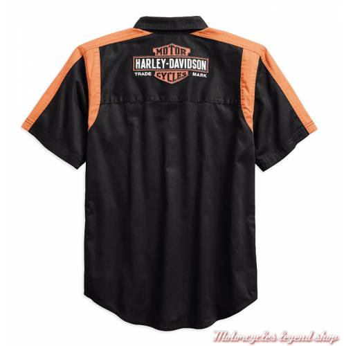 Chemisette Genuine Oil Can Harley-Davidson homme, noir et orange, vintage, Bar & Shield, coton, dos, 99066-18VM