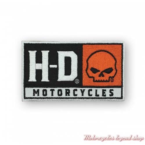 Patch HD Skull Harley-Davidson, brodé, orange, noir, blanc, EM043662