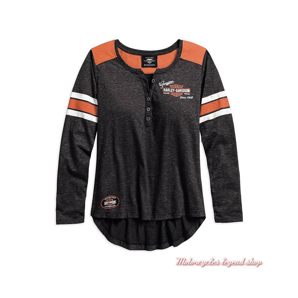 Tee-shirt Genuine Oil Can Harley-Davidson femme, manches longues, col tunisien, noir, orange, 99070-18VW