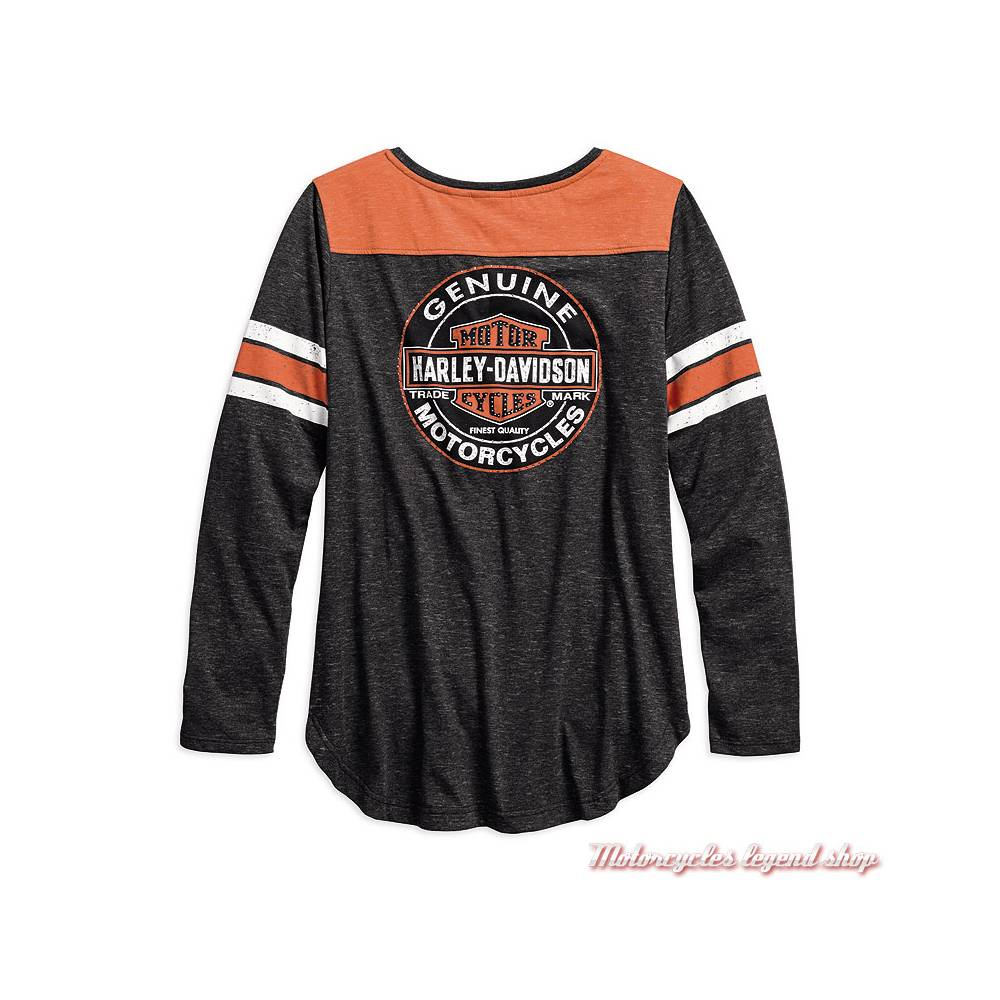 Tee-shirt Genuine Oil Can Harley-Davidson femme, manches longues, col tunisien, noir, orange, dos, 99070-18VW
