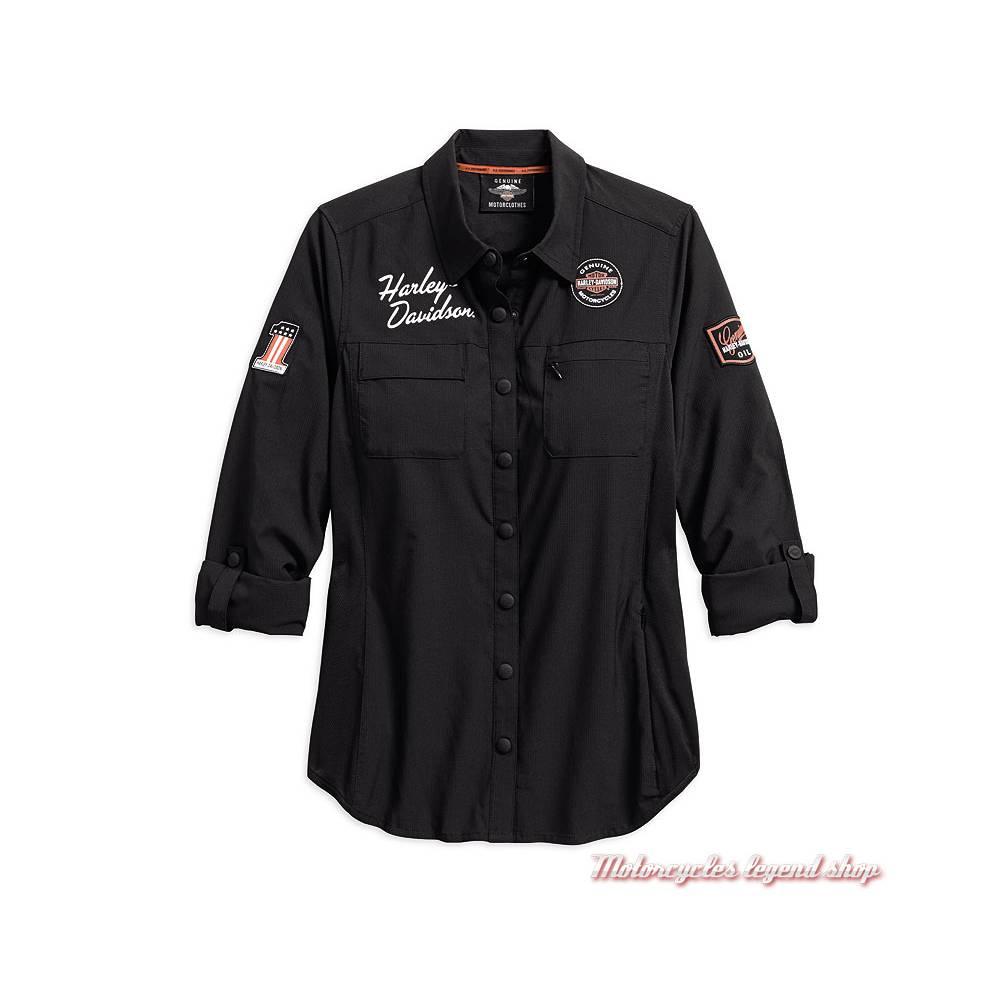 Chemise Classic Performance Harley-Davidson femme, polyester ripstop, noir, aérée, manches longues, 99076-18VW