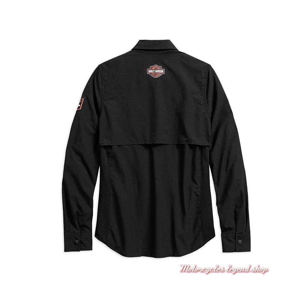 Chemise Classic Performance Harley-Davidson femme, polyester ripstop, noir, aérée, manches longues, dos, 99076-18VW